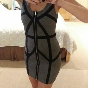 Grey and Black Bodycon Forever 21 Sz S Dress